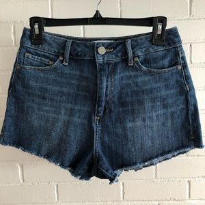 Paige High Rise Raw Edge Jean Shorts, Size 27
